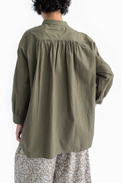 Ichi Antiquites Cotton Shirt in Khaki on model view back