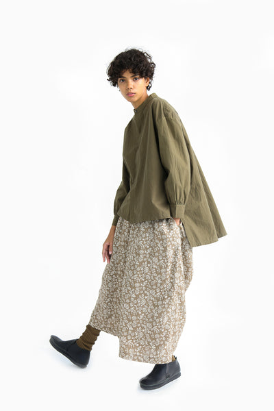 Ichi Antiquites Cotton Shirt in Khaki on model view side