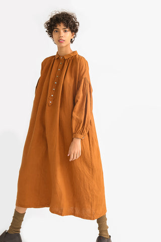 Ichi Antiquites Collar Dress - Linen in Camel on model view front