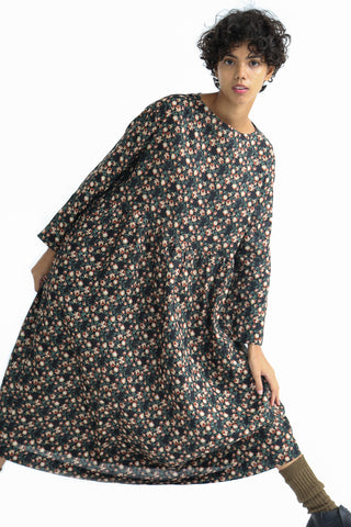 Ichi Antiquites Dress - Floral Linen in Black on model view front