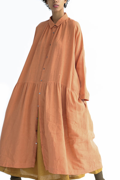 Ichi Antiquites Dress - Linen in Coral Pink on model view front