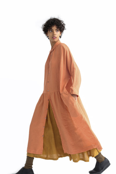 Ichi Antiquites Dress - Linen in Coral Pink on model view side