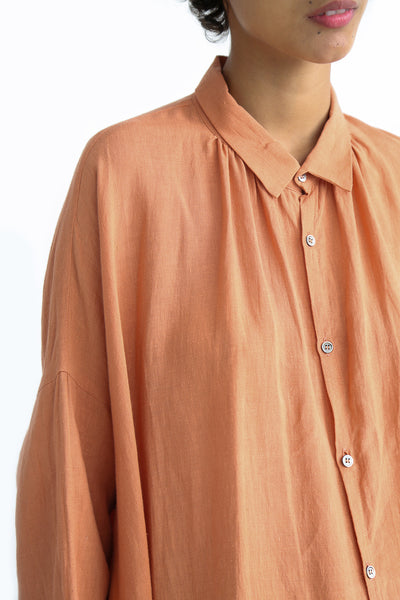 Ichi Antiquites Dress - Linen in Coral Pink collar detail view