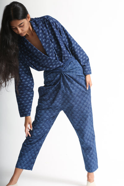 Cosmic Wonder Khadi Cockscomb Woodblock Printing Wrapped Pants in Ryukyu Indigo on model view front