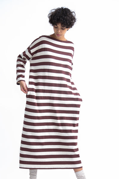 Ichi Antiquites Dress - Cotton/Linen in Natural/Brown on model view front