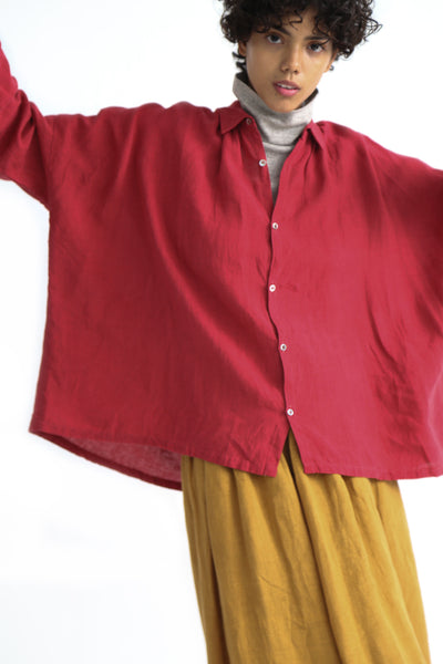 Ichi Antiquites Shirt - Linen in Red on model view front