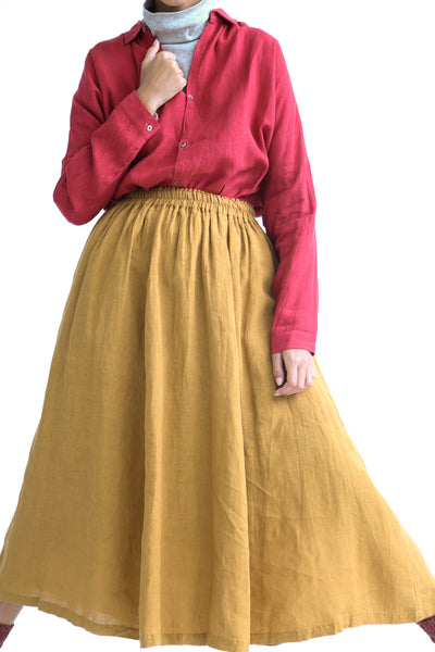 Ichi Antiquites Skirt - Linen in Camel on model view front