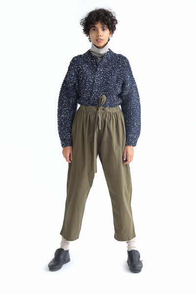 Ichi Antiquites Pant - Cotton in Khaki on model view front