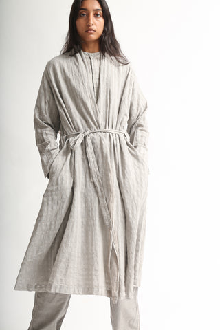 Cosmic Wonder Khadi Nadeshiko Woodblock Printing Haori Robe in Light Sumikuro on model view front