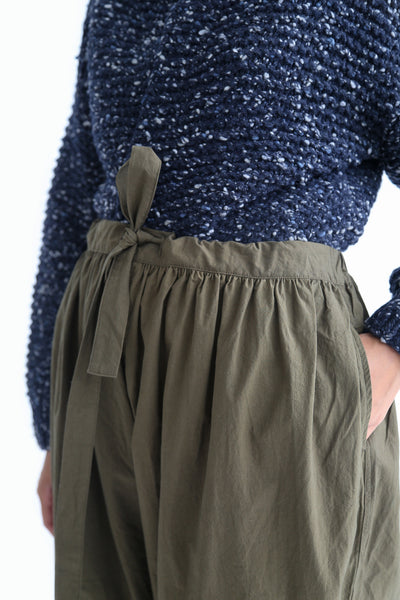 Ichi Antiquites Pant - Cotton in Khaki waist detail view