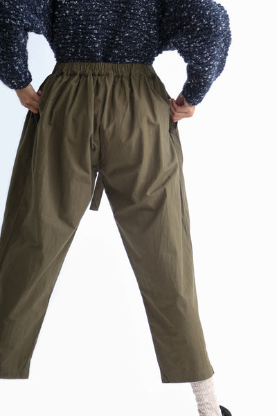 Ichi Antiquites Pant - Cotton in Khaki on model view back