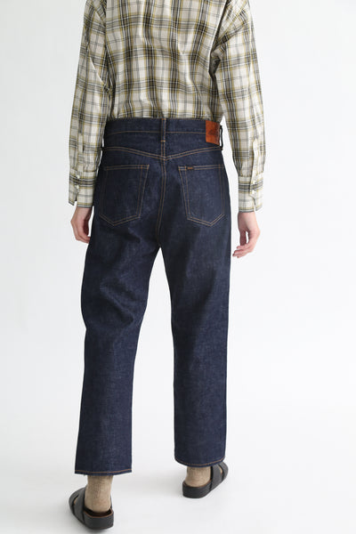 Chimala Selvedge Denim Wide Tapered Cut - 13.5 Oz in Rinse on model view back