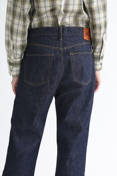 Chimala Selvedge Denim Wide Tapered Cut - 13.5 Oz in Rinse back pocket detail