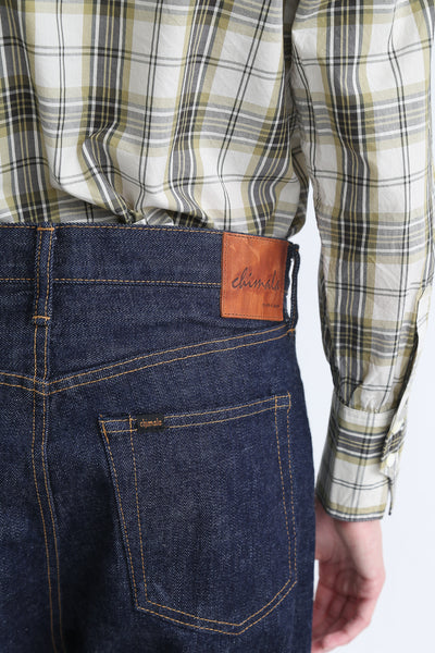 Chimala Selvedge Denim Wide Tapered Cut - 13.5 Oz in Rinse back waist detail