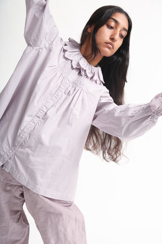 nest Robe Embroidered Cotton Ramie Blouse in Lavender on model view front
