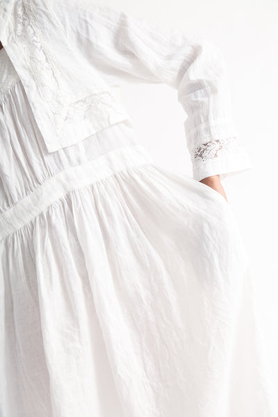 nest Robe Linen Laced Sailor Collar Dress in Off White pocket detail view