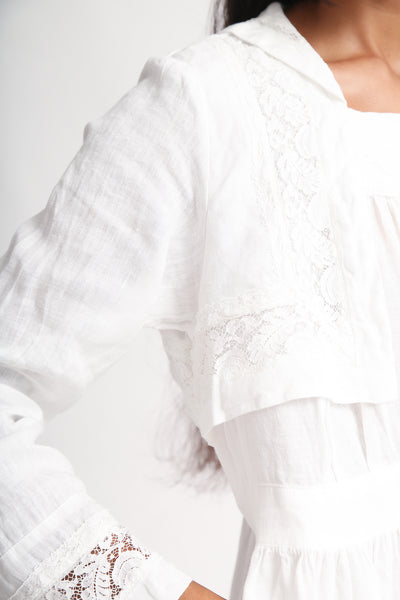 nest Robe Linen Laced Sailor Collar Dress in Off White bodice detail view