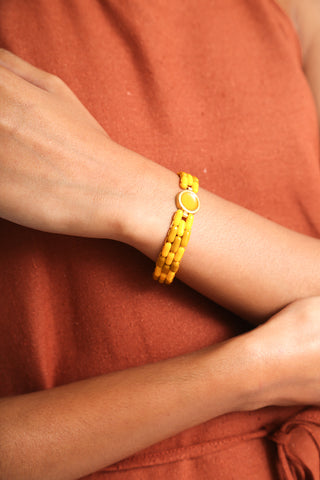 Abby Carnevale Glass Bead Bracelet in Yellow on model view