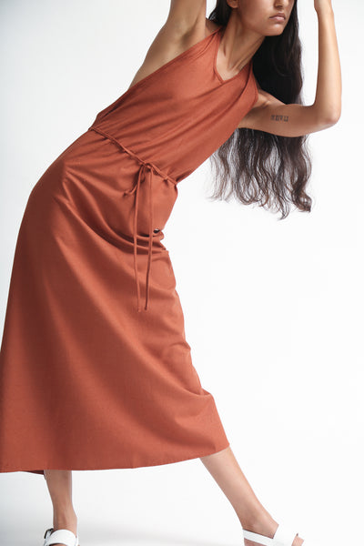Baserange Apron Dress - Raw Silk in Rust on model view front