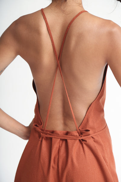 Baserange Otay Jumpsuit - Raw Silk in Rust back detail view