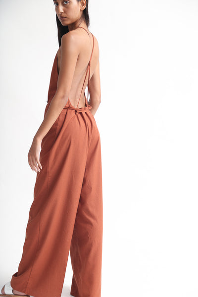 Baserange Otay Jumpsuit - Raw Silk in Rust on model view back