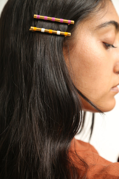 Abby Carnevale Striped Barrette in Orange / White on model view