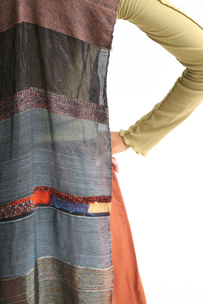 Jess Feury Handwoven Overlay in Navy & Copper Multi back detail view