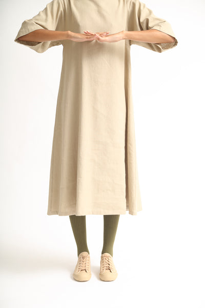 Baserange Jackson Dress - Linen Cotton in Khaki on model view front