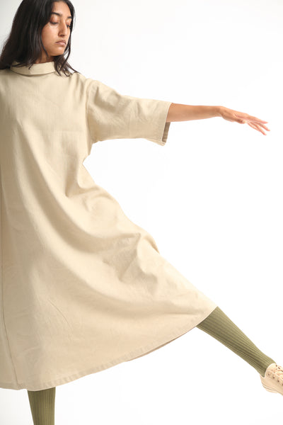 Baserange Jackson Dress - Linen Cotton in Khaki sleeve detail view