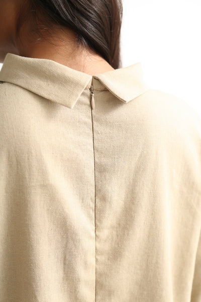 Baserange Jackson Dress - Linen Cotton in Khaki back zipper detail view