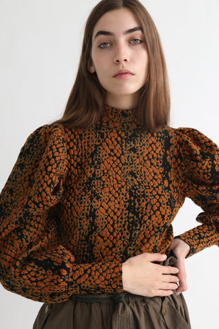 Ulla Johnson Sascha Turtleneck in Amber Python on model view front