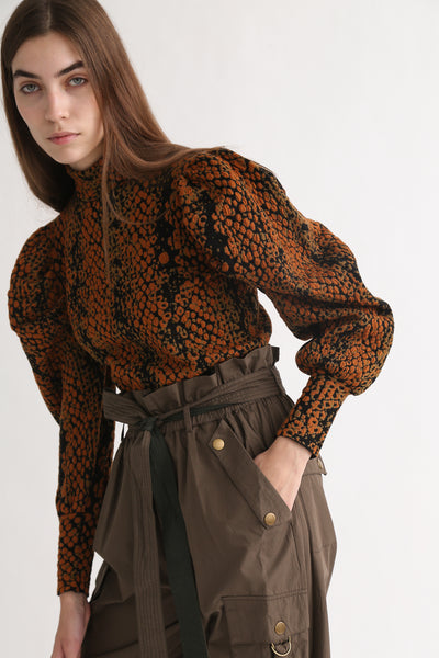 Ulla Johnson Sascha Turtleneck in Amber Python on model view side