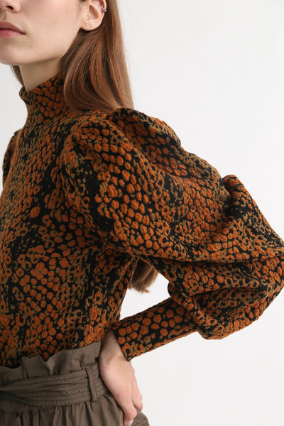 Ulla Johnson Sascha Turtleneck in Amber Python sleeve detail view