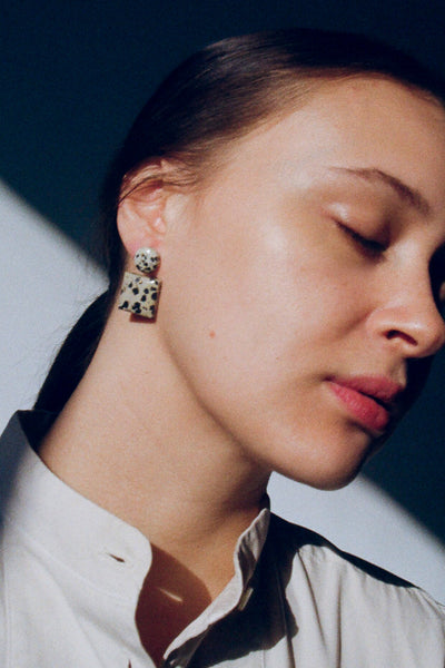 Jessica Winzelberg Dalmation Stone Earrings | Oroboro Store | New York, NY