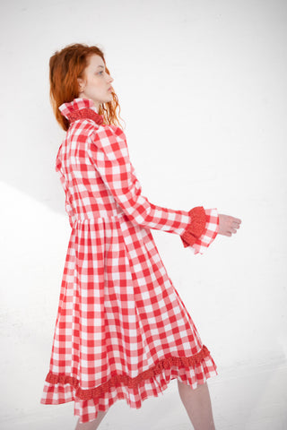 Batsheva Floral Prairie Dress in Red Gingham|Oroboro Store | New York, NY