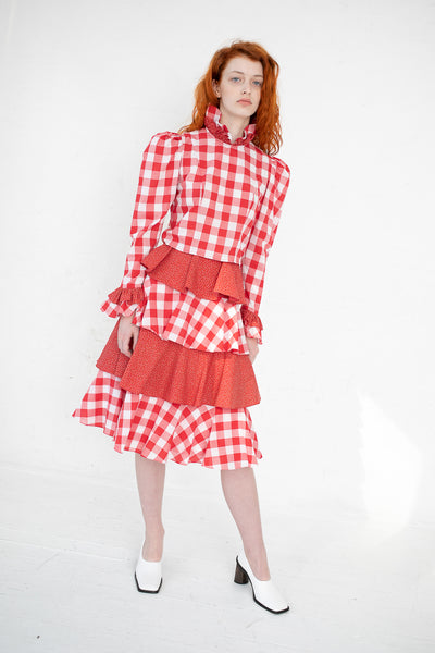 Batsheva Prairie Top in Red Gingham | Oroboro Store | New York, NY