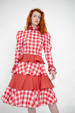 Batsheva Tiered Skirt in Red Gingham / Floral | Oroboro Store | New York, NY