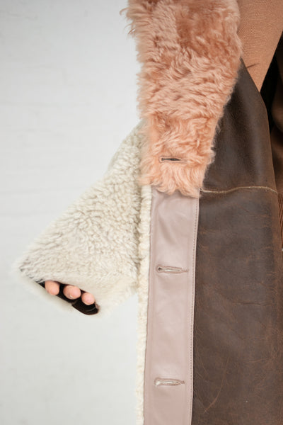 Milena Silvano Sexton Coat in Oat / Sunrise Pink | Oroboro Store | New York, NY