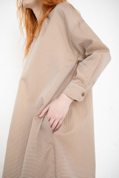 Caron Callahan Aurora Dress in Brown Pinstripe | Oroboro Store | New York, NY