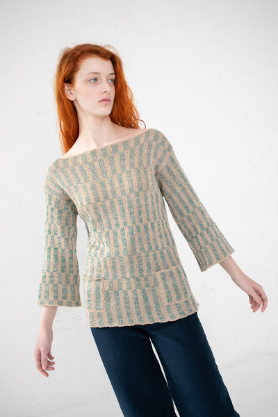 Intensity Optic Bell Pullover in Sand & Aqua | Oroboro Store | New York, NY