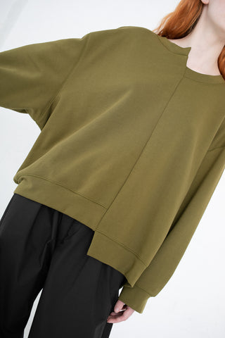 A Detacher Irving Sweatshirt in Olive | Oroboro Store | New York, NY
