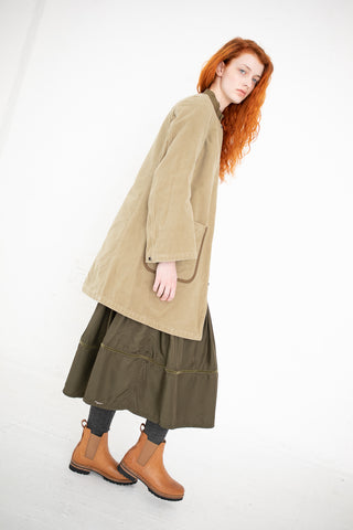 Visvim Betty Collarless Coat in Khaki | Oroboro Store | New York, NY