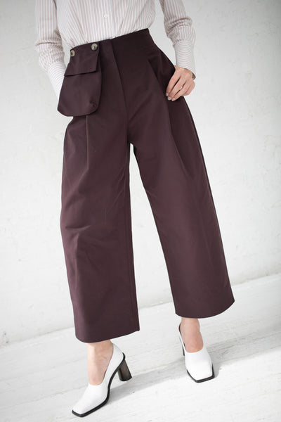 Studio Nicholson Double Loose Leg Pants with Pocket in Wine Herringbone Cotton | Oroboro Store | New York, NY