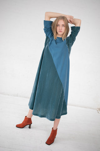 Bernhard Willhelm Velvet Dress in Teal Blue | Oroboro Store | New York, NY