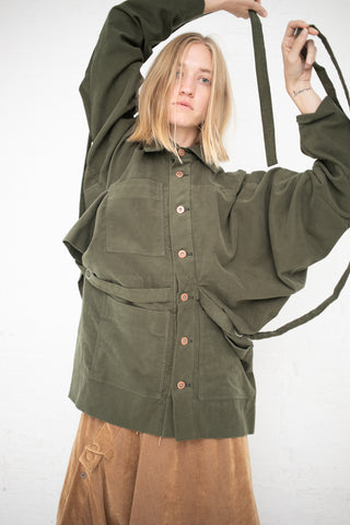 Bernhard Willhelm Short Button Up Coat in Green | Oroboro Store | New York, NY