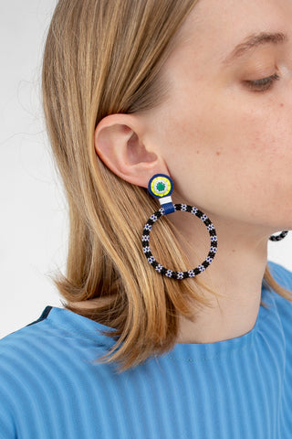Robin Mollicone Large Beaded Hoop Earring in Malachite with Black Flower Stripe | Oroboro Store | New York, NY