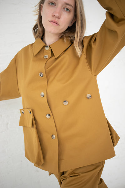 Studio Nicholson Utility Jacket with Removable Pocket in Mustard Herringbone Cotton | Oroboro Store | New York, NY