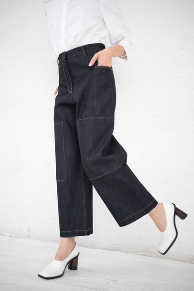 Studio Nicholson Panel Detail Utility Pants  in Indigo Selvedge Denim | Oroboro Store | New York, NY