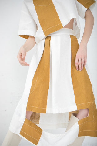 Nancy Stella Soto Striped Linen Skirt w/ Rectangular cut-out in Mustard | Oroboro Store | New York, NY