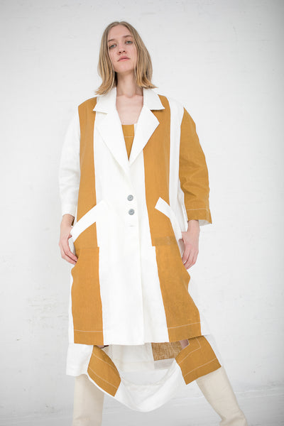 Striped Linen Jacket in Mustard